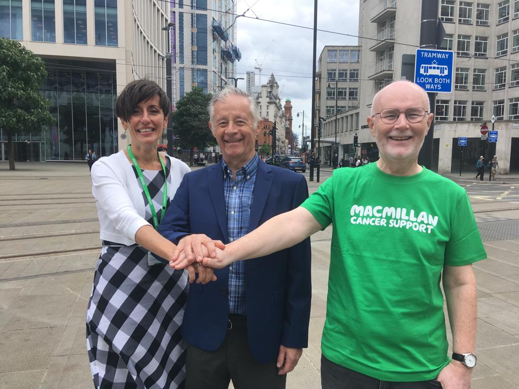 Dr Colligan and User Involvement Rep Patrick meet with Tanya from Macmillan