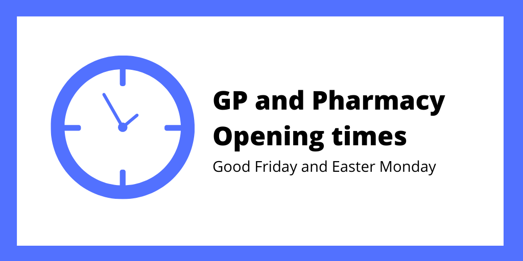 GP and pharmacy opening times Twitter graphic.