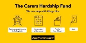 Image that describes the Carers Hardship Fund and how to apply (provided by Manchester City Ccouncil)