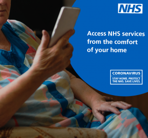 Access NHS services from home Facebook/Instagram graphic.