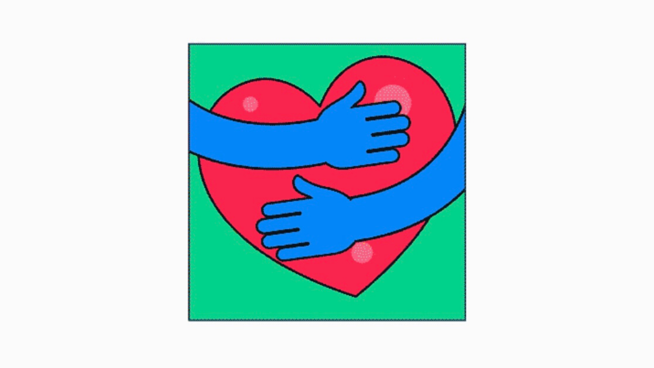 A heart being hugged by two hands