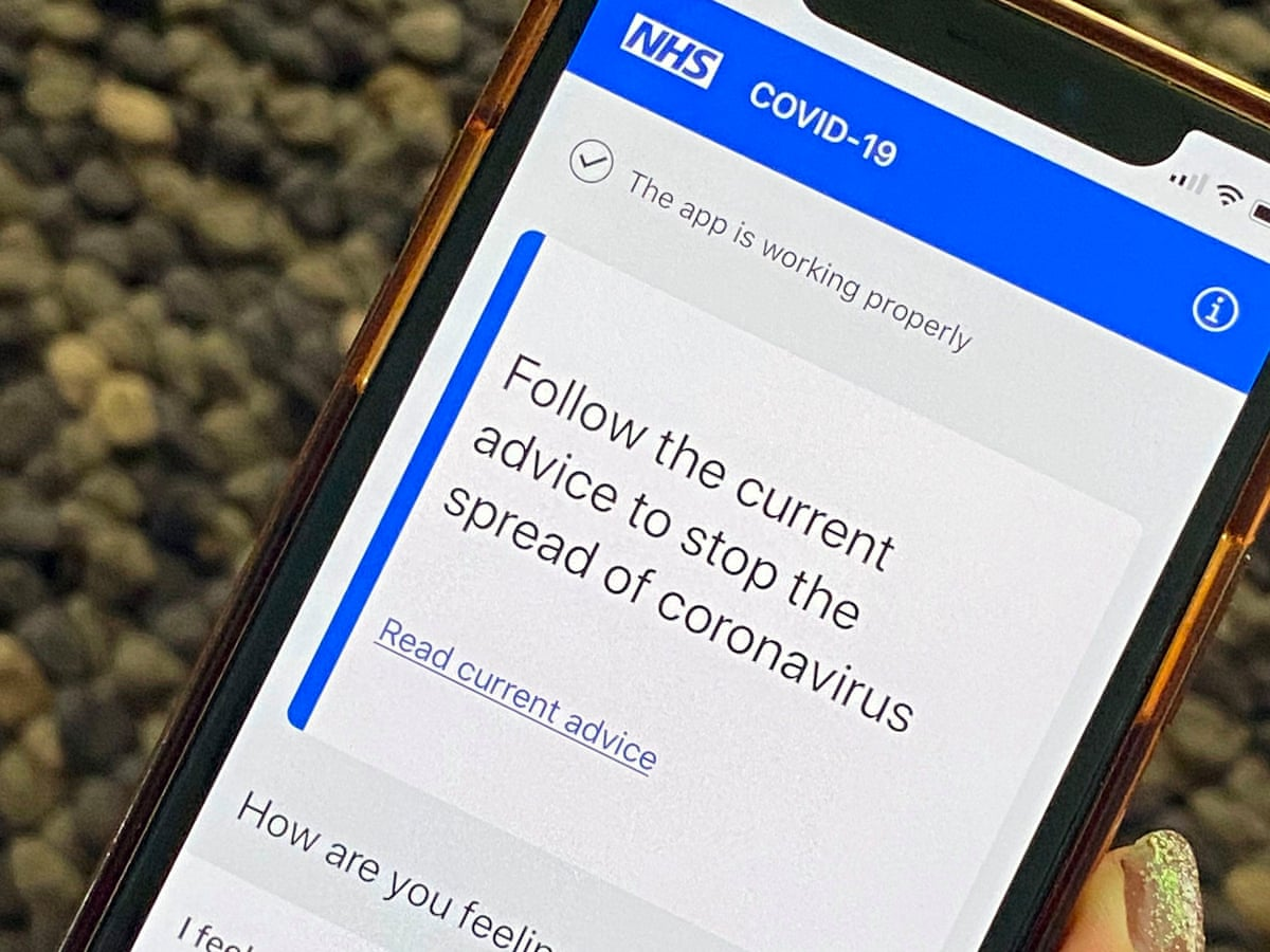 Image of a mobile phone displaying the NHS Track and Trace web page