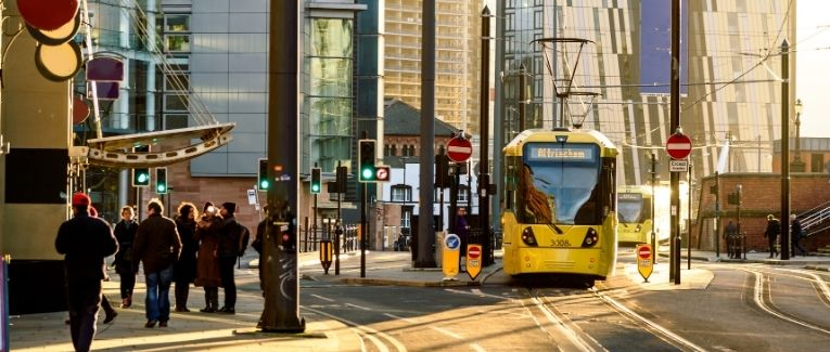 A tram running in Manchester city centre 1