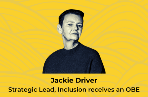 Image shows Jackie Driver against a yellow background that has a transparent pattern of waves in line drawing. The Jackie Driver Strategic Lead, Inclusion receives an OBE is under the Jackie's image
