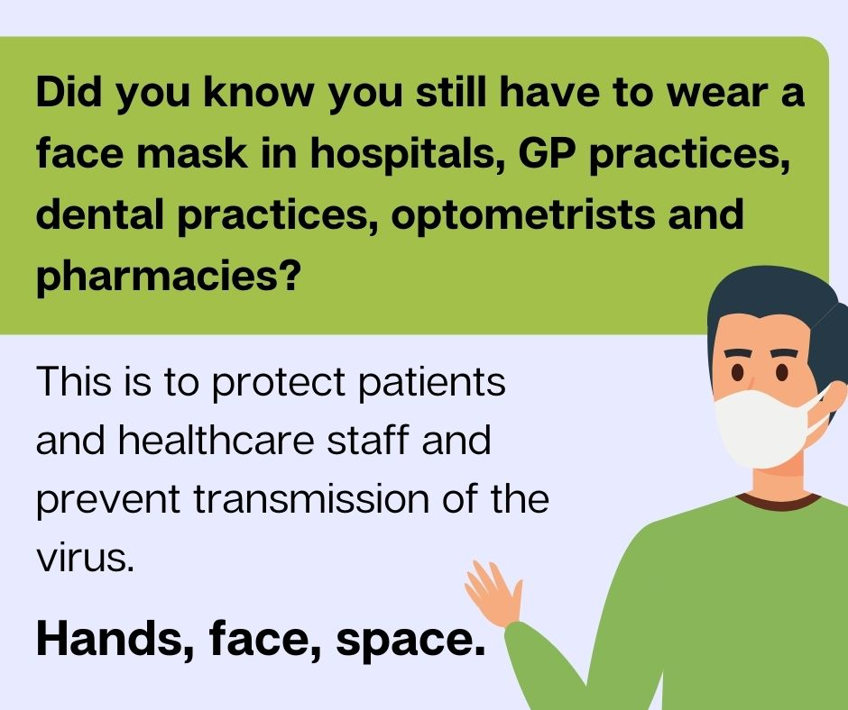 Did you know you still have to wear a face covering in healthcare settings